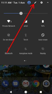 Tap on Pencil icon to adjust quick settings on pixel XL