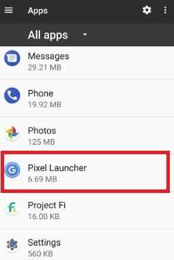 Tap on Pixel launcher from app list on pixel