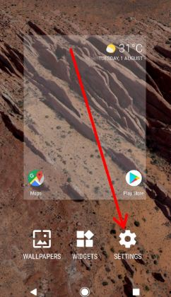 Tap settings on home screen to open rotation settings in pixel