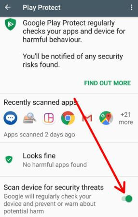 Use Google Play Protect on android Oreo 8.0 device