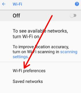 Use Wi-Fi preferences on android 8.0 Oreo
