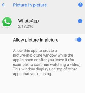 use picture-in-picture mode in android Oreo 8.0