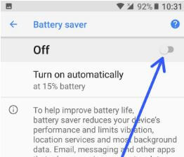 Disable battery saver in android Oreo 8.0 device
