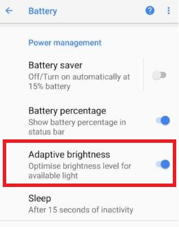 Enable adaptive brightness in android Oreo