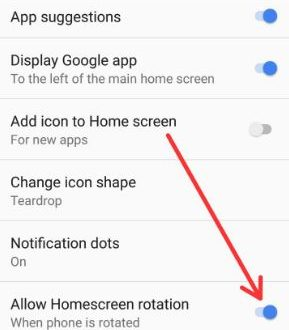 How to enable home screen rotation android Oreo 8 0