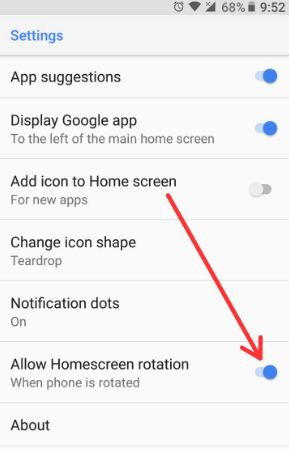 Enable home screen rotation android Oreo 8.0