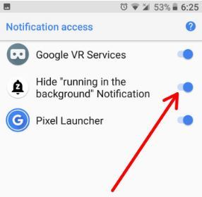 Hide apps running in background notification on android Oreo 8.0