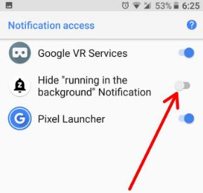 Hide running in the background notification on Oreo