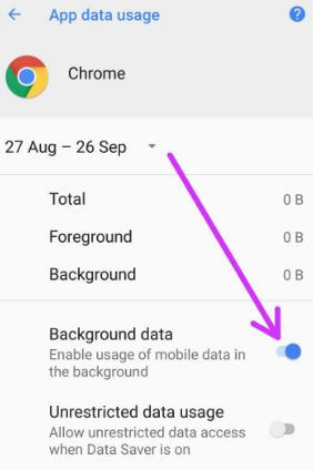 Limit usage of mobile data in background in android 8.0 Oreo