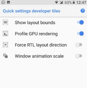 Quick settings for developers in android 8.0 O