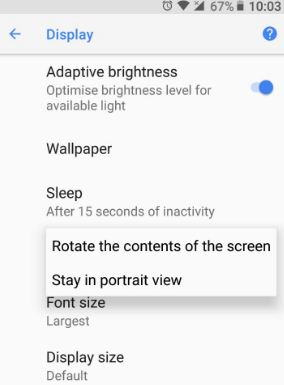 Rotate the contents of the screen in android 8.0