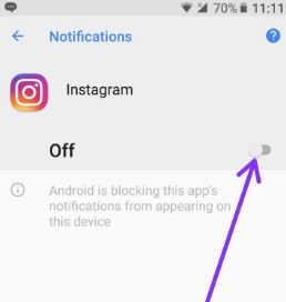 Turn off notifications android Oreo 8.0 device