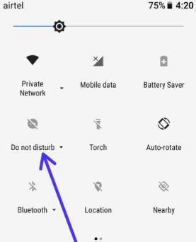 turn on DND using notification bar in Oreo