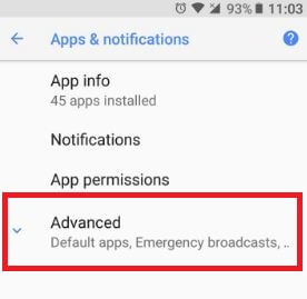 Android Oreo advanced apps & notification settings