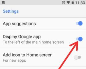 Enable Google news app page in android Oreo