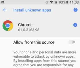Enable unknown sources android Oreo 8.0