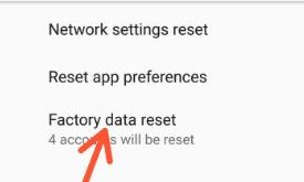Factory reset android 8.1 Oreo