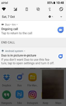 Google Duo Picture-in-picture mode on android Oreo 8.0
