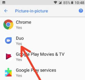 Google Duo Picture-in-picture mode settings in Oreo