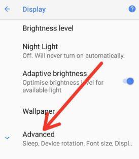 Pixel 2 phone display settings