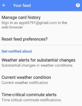 Reset feed preferences in android Oreo