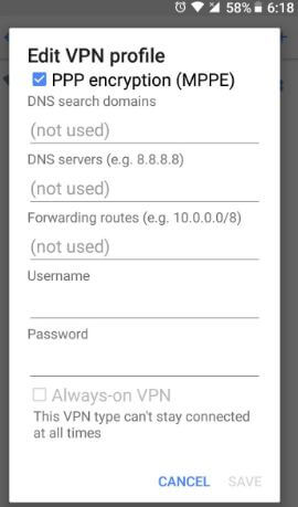Set up a VPN on android Oreo 8.0
