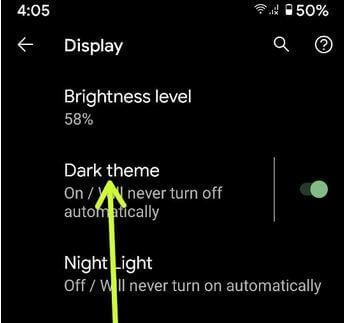 Turn On Dark Theme in Pixel 2 XL