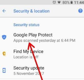 Google Play Protect under security & location settings in Oreo