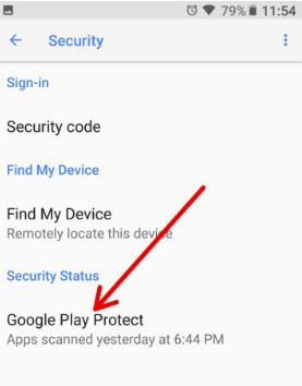Google Play protect under security in Google app settings