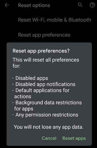 Reset App Preference Android 10 Devices