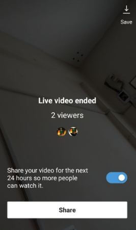Share Live video on Instagram in android phone