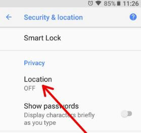 Tap location under security & location settings in Oreo