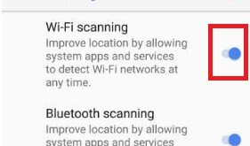 Turn off Wi-Fi scanning on android Oreo 8.1
