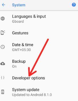 Android 8.1 Oreo developer option settings
