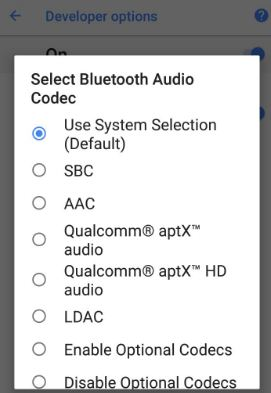 Change Bluetooth audio codec on android 8.0 Oreo