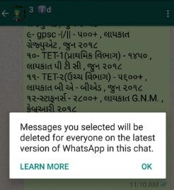 Delete WhatsApp send messages from android phone
