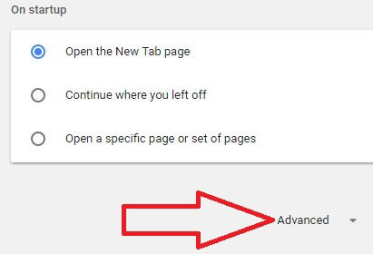 Google Chrome advanced settings for change download path