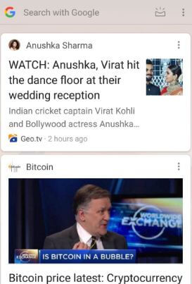 Google News feed in android home screen