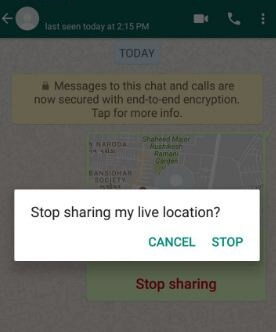 How to stop sharing live location WhatsApp android