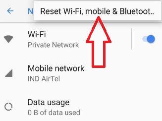 Reset wifi settings in Pixel 2 device