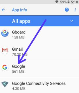Tap on Google App in apps list
