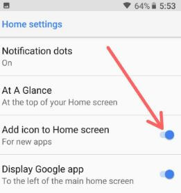 Add icon to home screen in android 8.1 Oreo