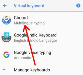 Android 8.1 Oreo Gboard settings