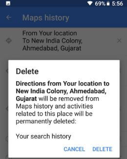 Clear Google Maps history on android device