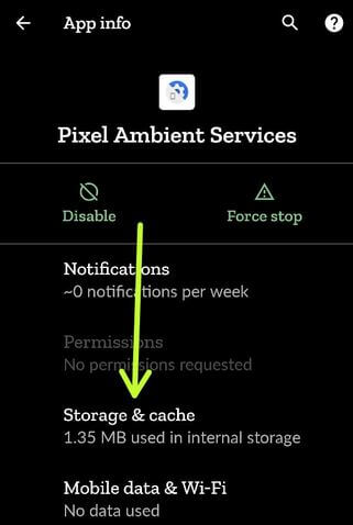Clear Storage of Pixel Ambient Services to Fix Pixel 2 XL Now Playing issue