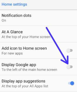 Disable Google feed card on android 8 Oreo