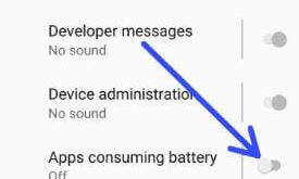 Disable battery usage notification on android Oreo 8.1