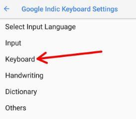 Google Indic keyboard settings in Google Pixel 2 Oreo