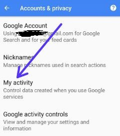 Google My activity settings in android device
