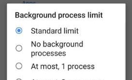 How to change background process limit in android 8.1